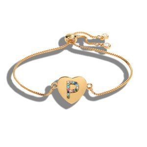 "Gold Heart Letter ""P"" Initial Name CZ Bracelet"